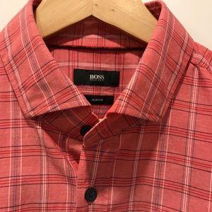 Hugo Boss Coral Plaid Dress Shirt Slim L